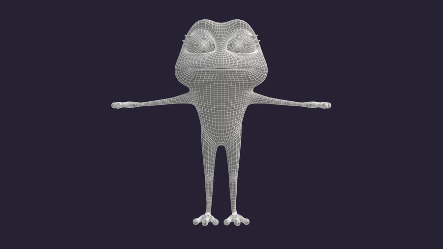 Asset - Cartoons - Character - Animals - Frog - Hight Poly royalty-free 3d model - Preview no. 7