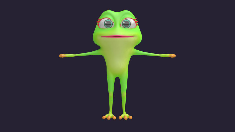 Asset - Cartoons - Character - Animals - Frog - Hight Poly royalty-free 3d model - Preview no. 2