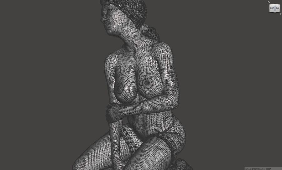 3D nagie kobiece ciało poza 02 royalty-free 3d model - Preview no. 4