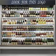 Escaparate en tienda de alcohol modelo 3d