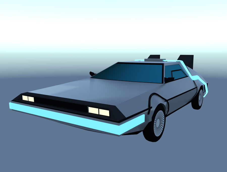 DLM delorean back to the future royalty-free 3d model - Preview no. 1