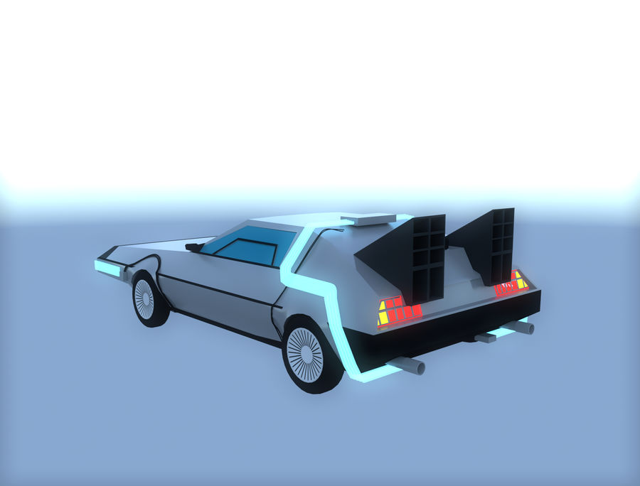 DLM delorean back to the future royalty-free 3d model - Preview no. 3