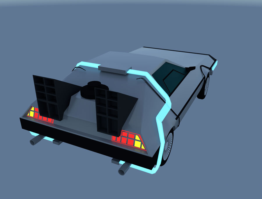 DLM delorean back to the future royalty-free 3d model - Preview no. 2