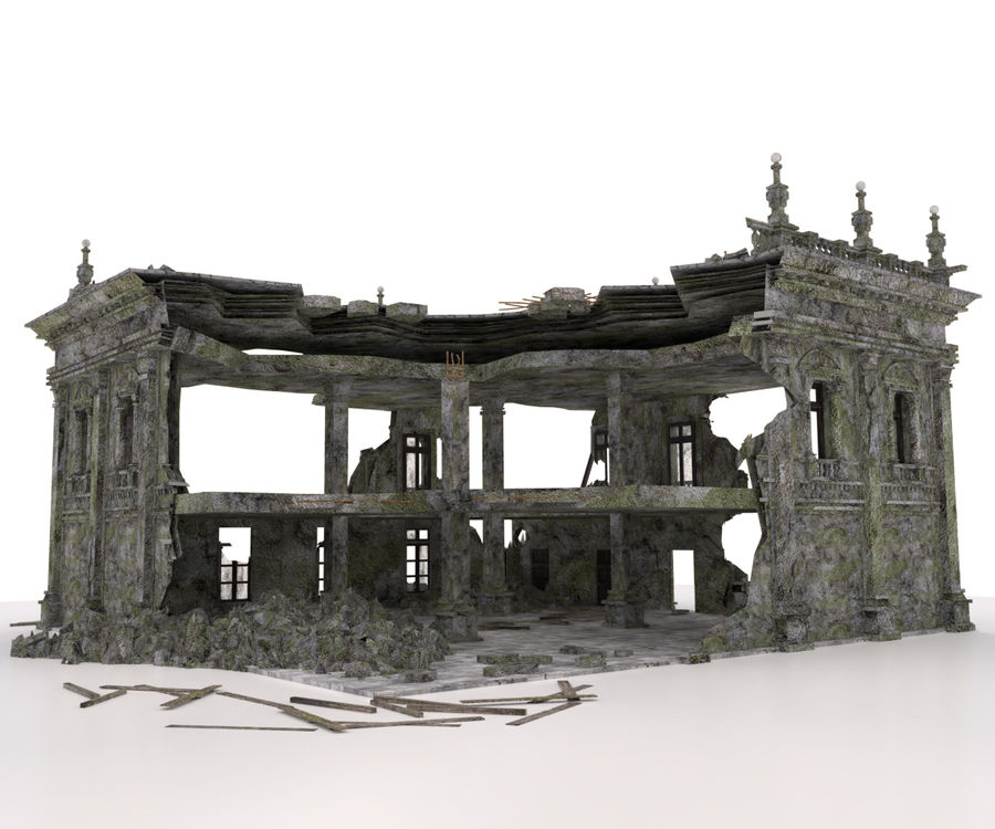 RUINED APOCALYPSE BUILDING royalty-free 3d model - Preview no. 4