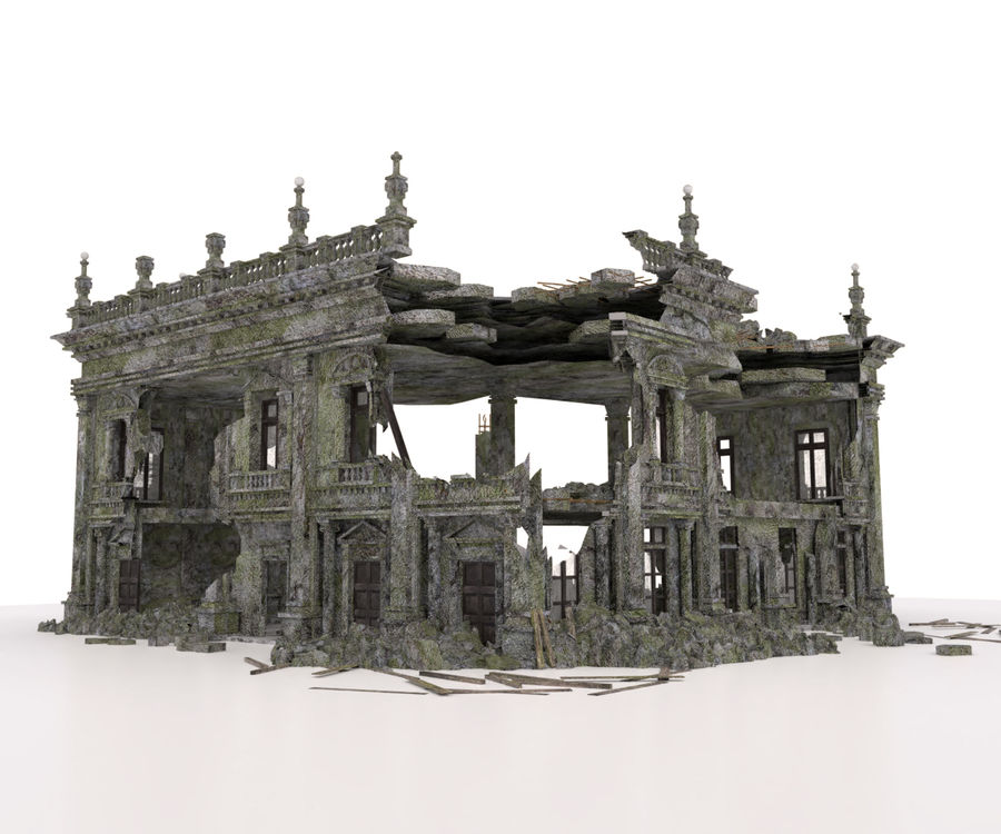 RUINED APOCALYPSE BUILDING royalty-free 3d model - Preview no. 1