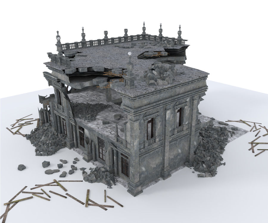 RUINED APOCALYPSE BUILDING royalty-free 3d model - Preview no. 6
