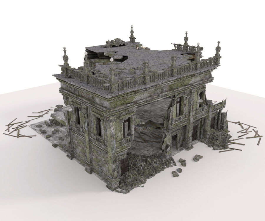 RUINED APOCALYPSE BUILDING royalty-free 3d model - Preview no. 2