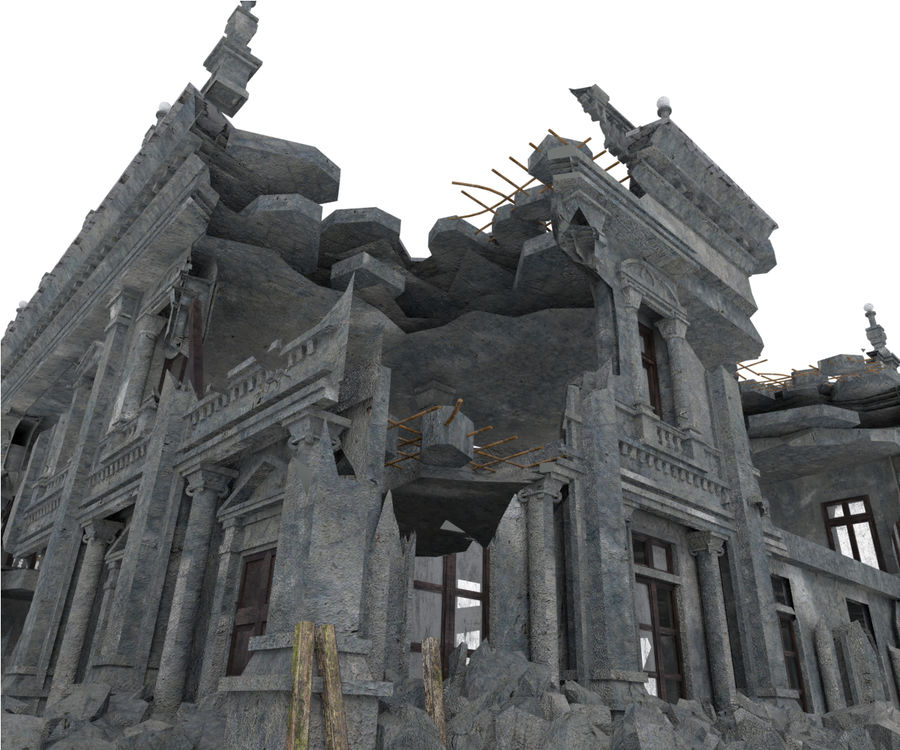 RUINED APOCALYPSE BUILDING royalty-free 3d model - Preview no. 7