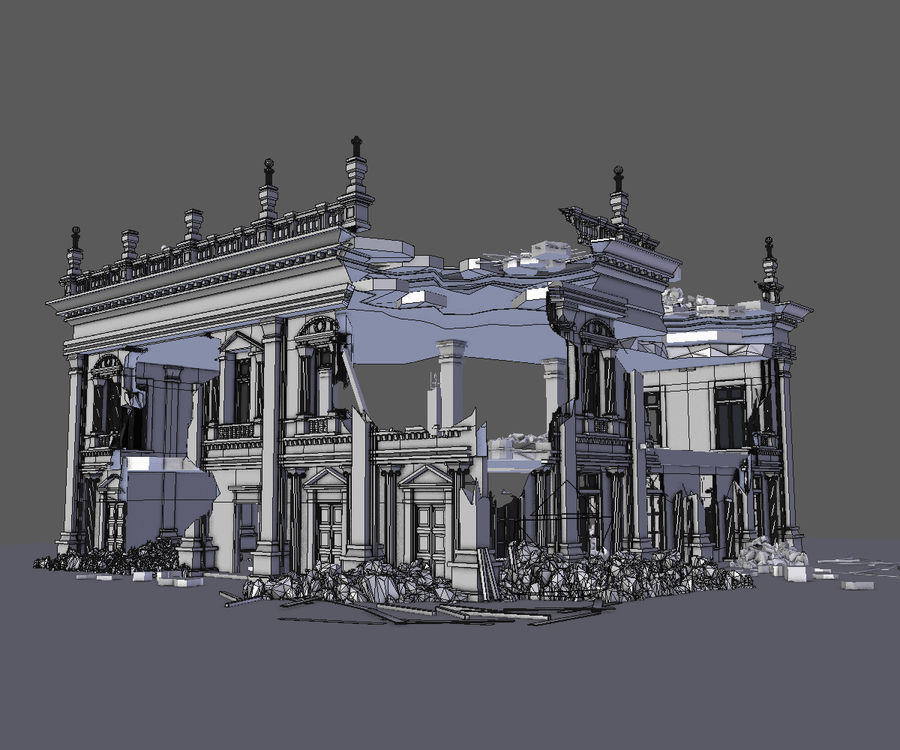 RUINED APOCALYPSE BUILDING royalty-free 3d model - Preview no. 5