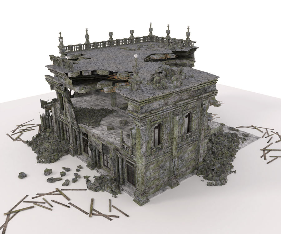 RUINED APOCALYPSE BUILDING royalty-free 3d model - Preview no. 3