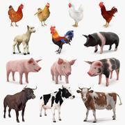 Gran colección de animales de granja modelo 3d