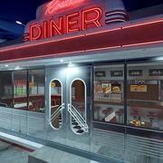 Vintage Roadside Diner 3d model