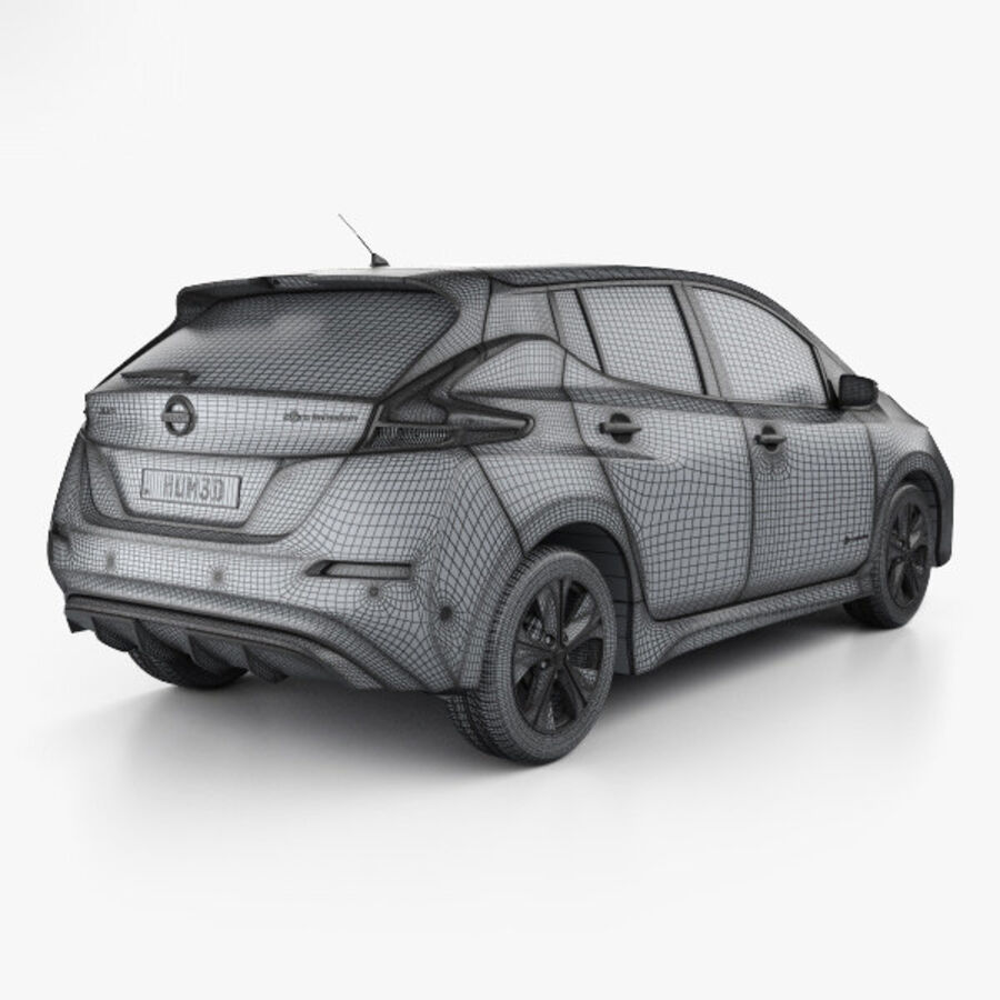Nissan Leaf 2018 royalty-free modelo 3d - Preview no. 4