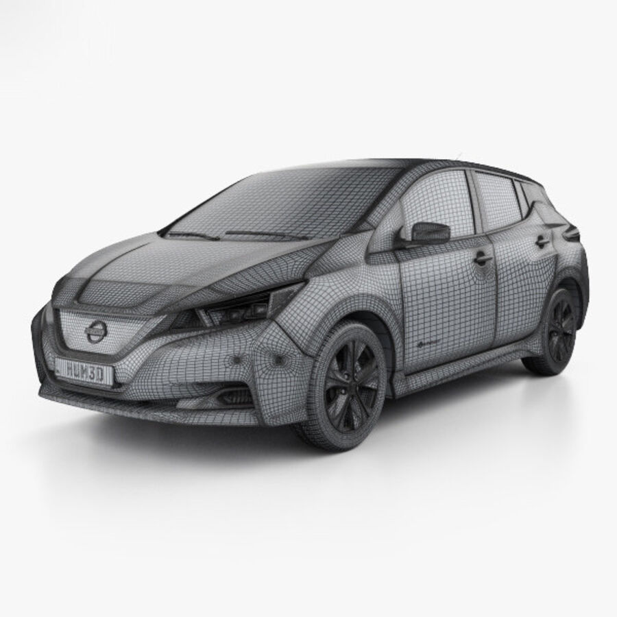 Nissan Leaf 2018 royalty-free 3d model - Preview no. 3