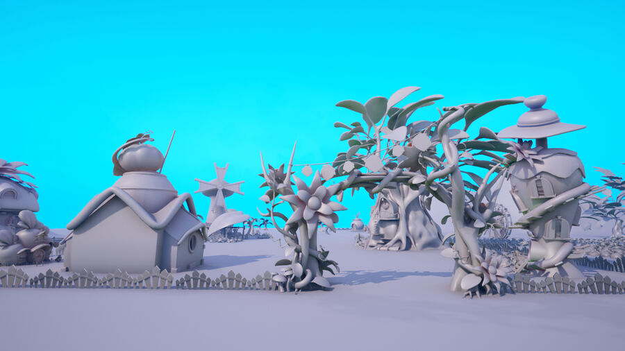 Asset - Cartoons - Background- Farm - Hight Poly 3D model royalty-free 3d model - Preview no. 2