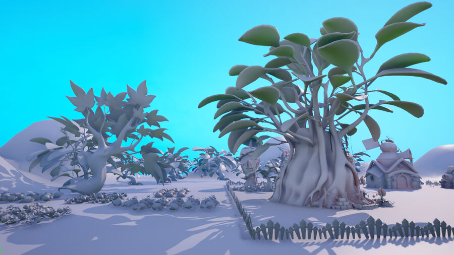 Asset - Cartoons - Background- Farm - Hight Poly 3D model royalty-free 3d model - Preview no. 7
