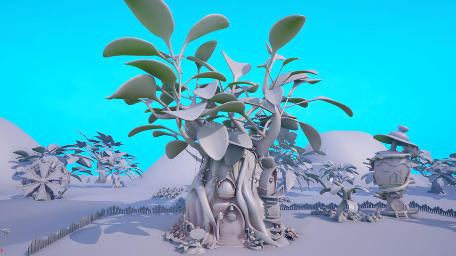 Asset - Cartoons - Background- Farm - Hight Poly 3D model royalty-free 3d model - Preview no. 6