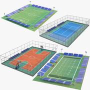 四个运动场馆 3d model