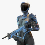 Female Cyborg Low Poly 3d model