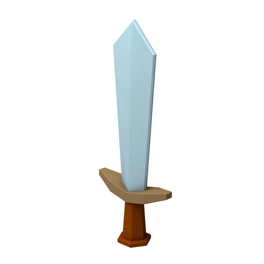 hache de l'épée poly faible dessin animé royalty-free 3d model - Preview no. 6