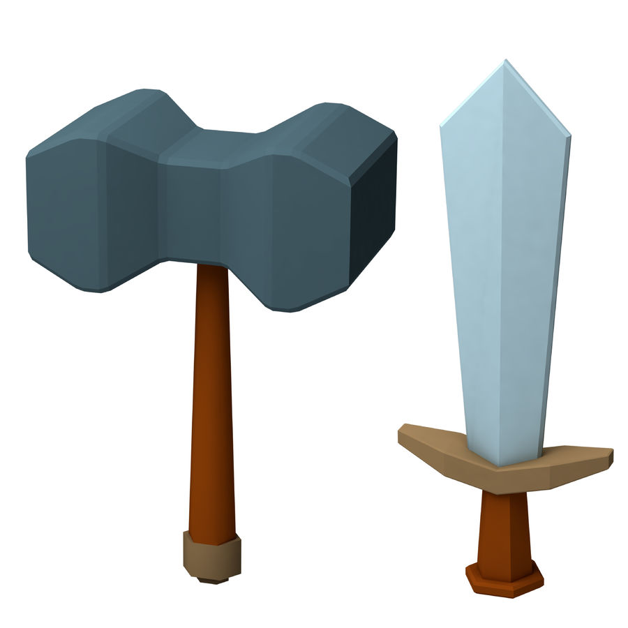 hache de l'épée poly faible dessin animé royalty-free 3d model - Preview no. 1