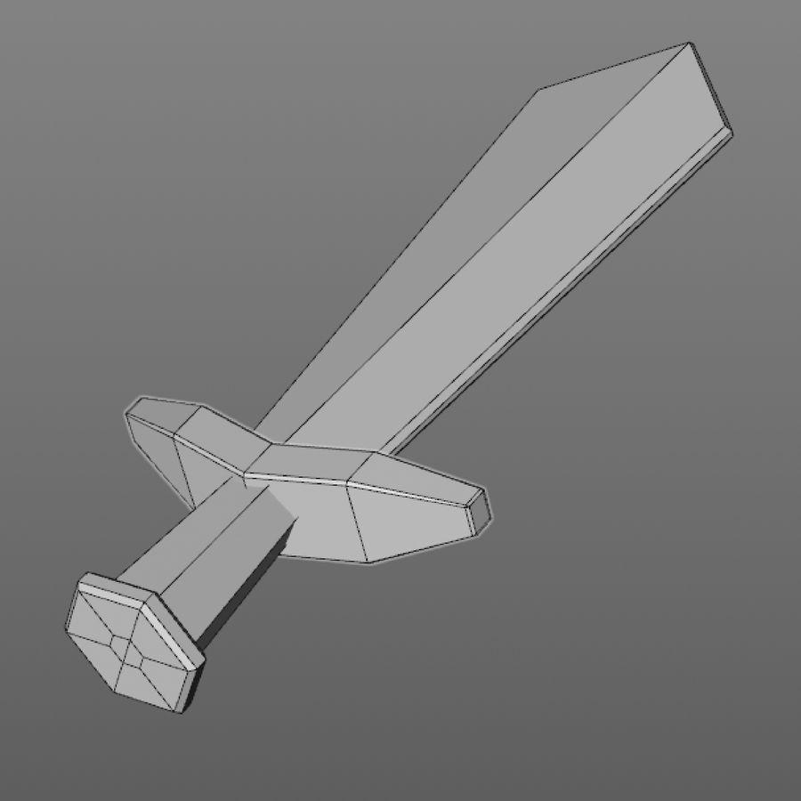 hache de l'épée poly faible dessin animé royalty-free 3d model - Preview no. 8