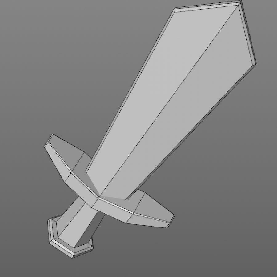 hache de l'épée poly faible dessin animé royalty-free 3d model - Preview no. 9
