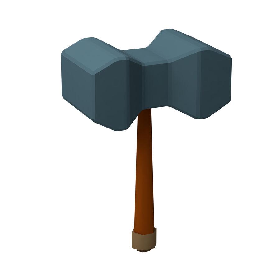 hache de l'épée poly faible dessin animé royalty-free 3d model - Preview no. 11