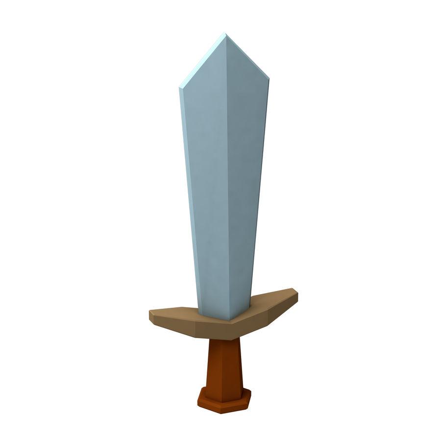 hache de l'épée poly faible dessin animé royalty-free 3d model - Preview no. 3