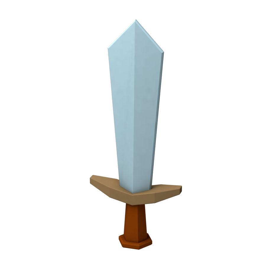 hache de l'épée poly faible dessin animé royalty-free 3d model - Preview no. 2
