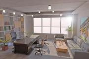 办公室内部 3d model