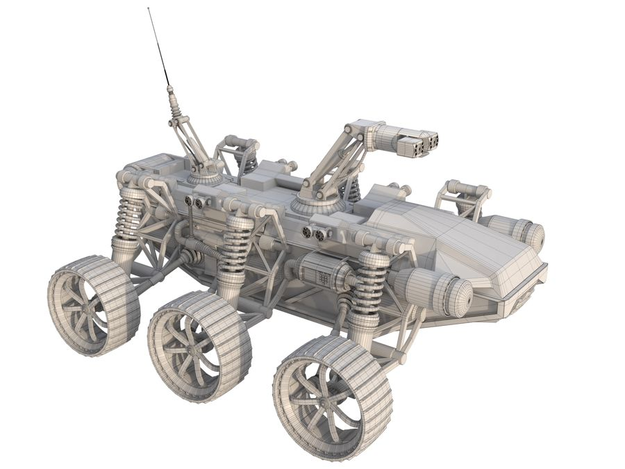 Robot wojskowy - łazik royalty-free 3d model - Preview no. 8