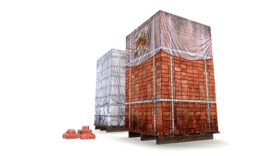 Block Brick pallet royalty-free 3d model - Preview no. 2