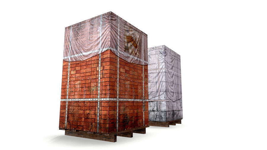 Block Brick pallet royalty-free 3d model - Preview no. 3