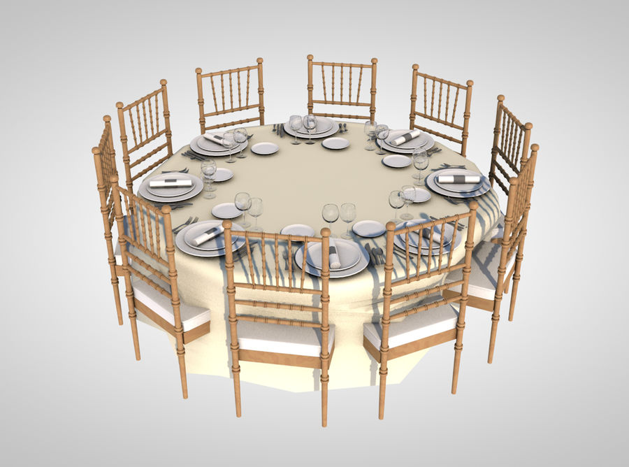 dinner table royalty-free 3d model - Preview no. 1