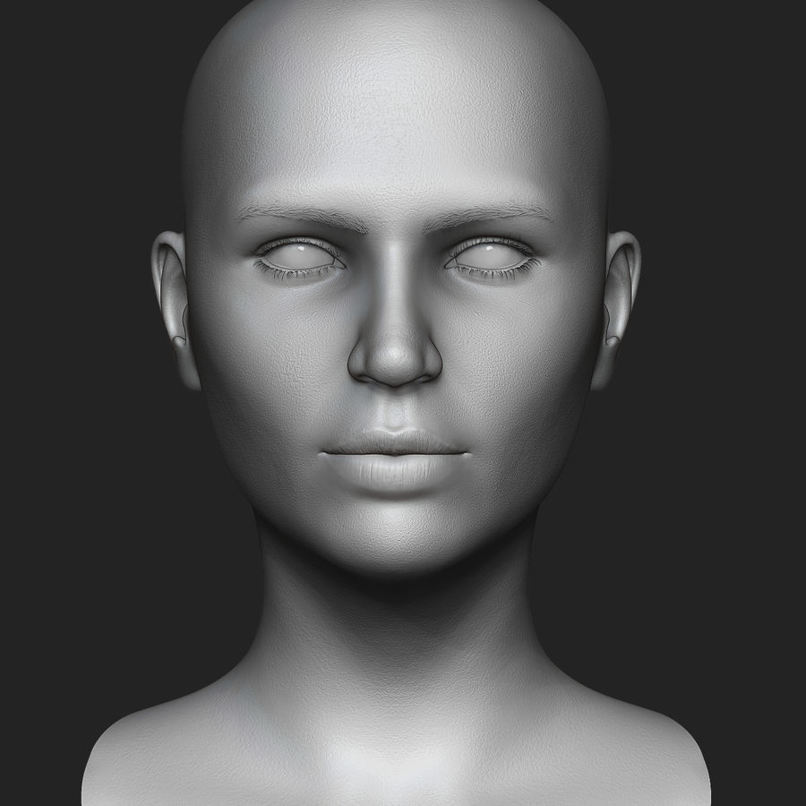 Realistic Female Head 3D Model royalty-free 3d model - Preview no. 1