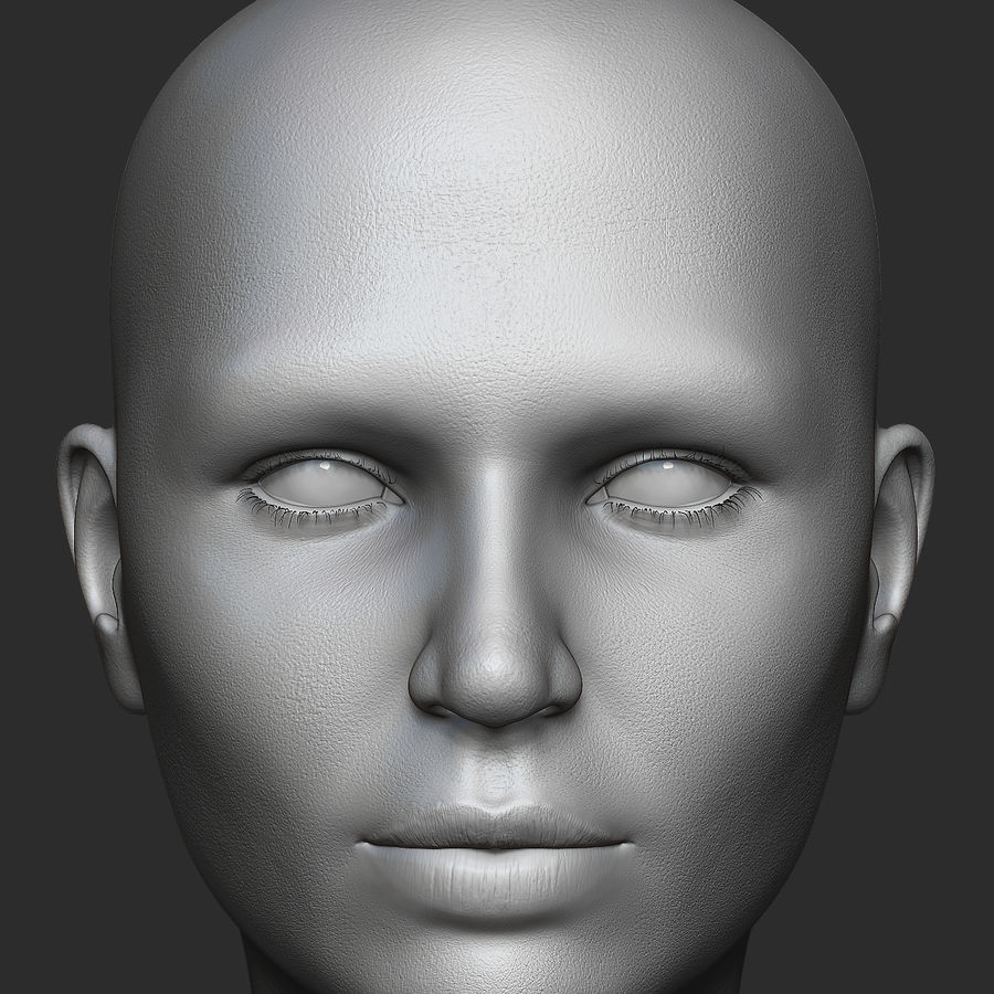 Realistic Female Head 3D Model royalty-free 3d model - Preview no. 2