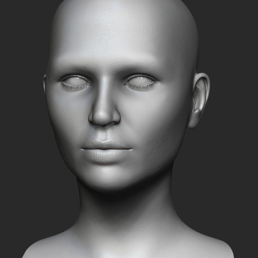 Realistic Female Head 3D Model royalty-free 3d model - Preview no. 3