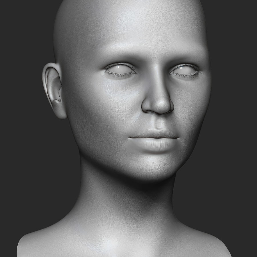 Realistic Female Head 3D Model royalty-free 3d model - Preview no. 4
