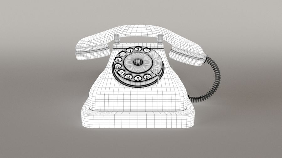 Old Telephone royalty-free 3d model - Preview no. 7