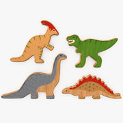 Wooden Toy Dinosaurs 3d model