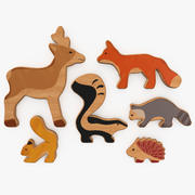 木制玩具可爱动物 3d model