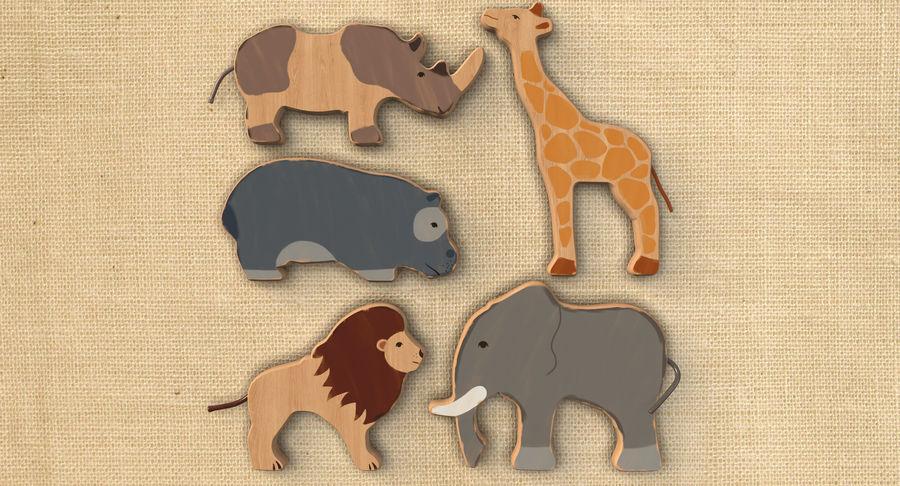 Animales de juguete de madera royalty-free modelo 3d - Preview no. 3