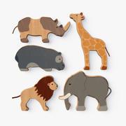 Animali giocattolo in legno 3d model