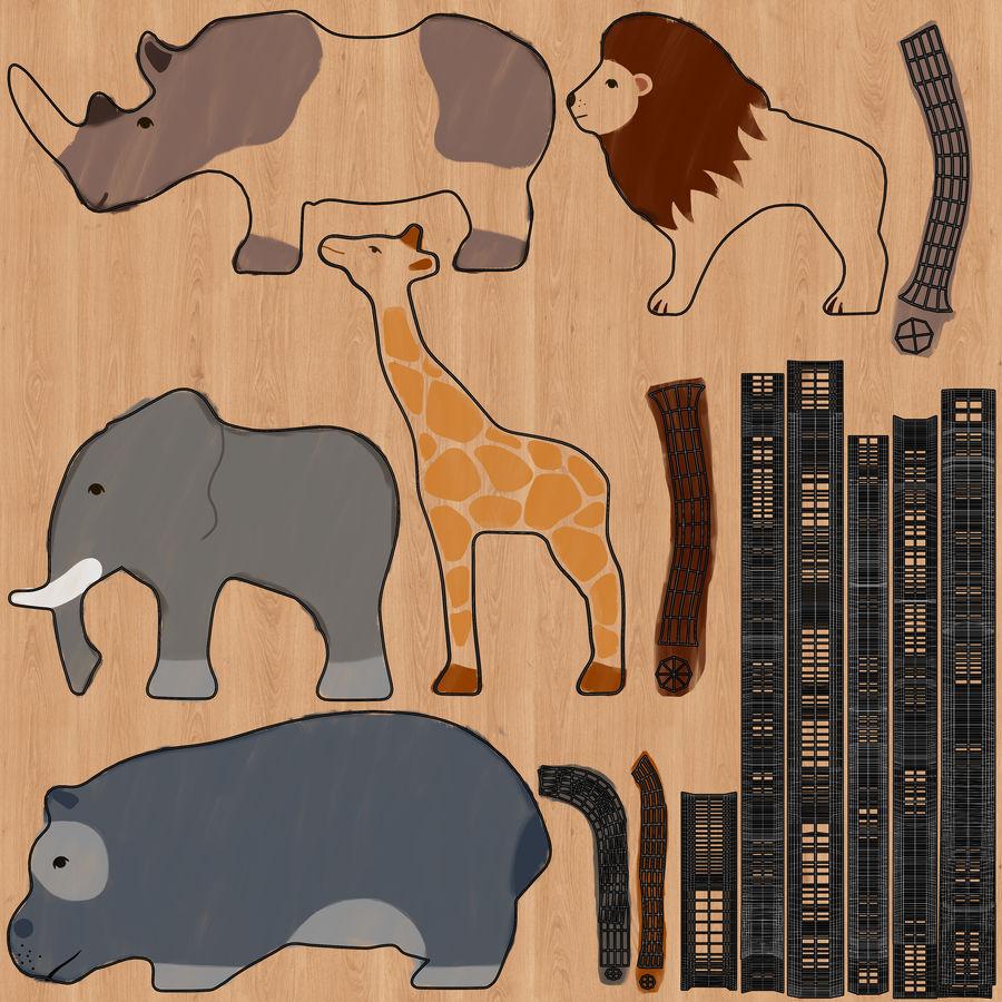 Animales de juguete de madera royalty-free modelo 3d - Preview no. 14