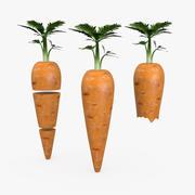 Sliced Complete And Bitten Carrots 3d model