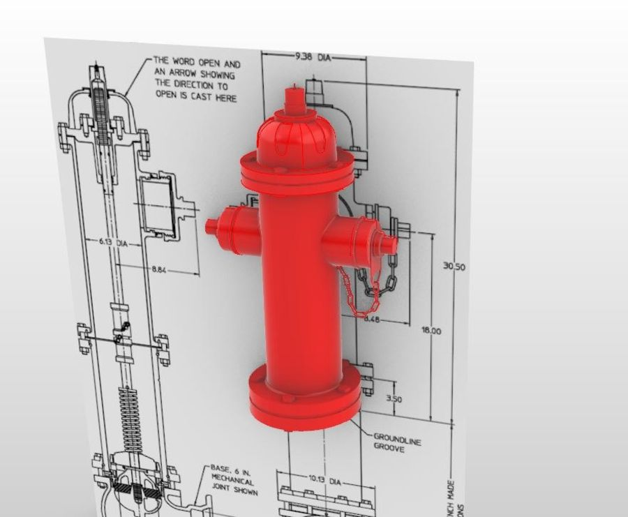 Feuerhydrant royalty-free 3d model - Preview no. 1
