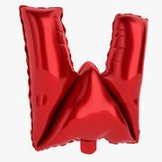 Balonowa litera W czerwona 3d model