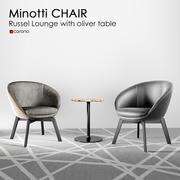 Minotti Russel Little Lounge stol 3d model