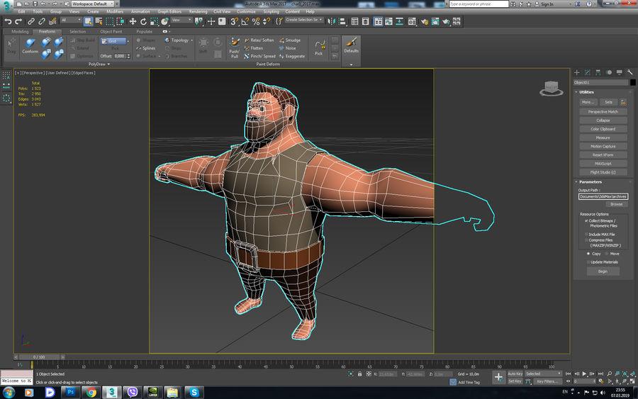Персонаж мультфильма royalty-free 3d model - Preview no. 5